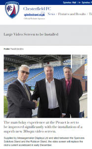 large LED video screen for chesterfield FC