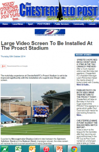 large video screen for chesterfield FC