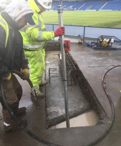 LED screen ground works at Chesterfield FC